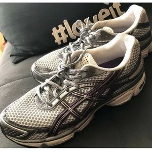 Asics Gray/White/Purple Running Shoes - Size 11